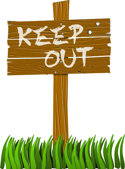 Keep Out Sign With Grass