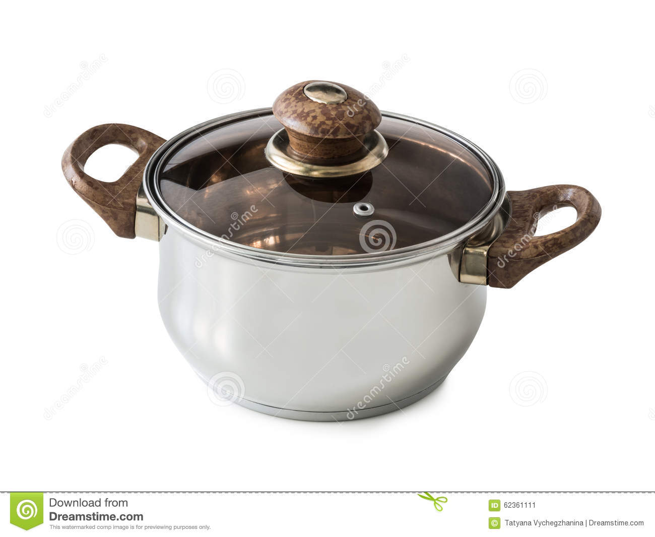 New Steel Pot With Glass Lid Stock Photo   Image  62361111