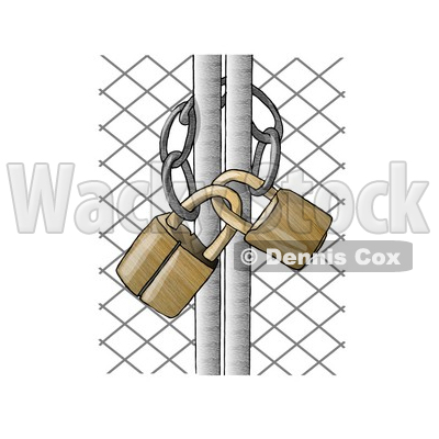 Padlocked Chain Link Fence Gate Clipart Picture   Djart  6228