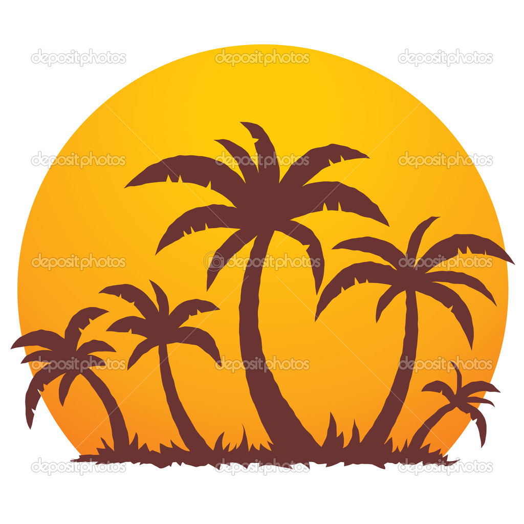 Palm Trees And Summer Sunset   Stock Vector   Fizzgig  1507463