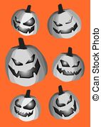 Pumpkin Smiley Faces Cut Out Isolated On Orange Background Vectors