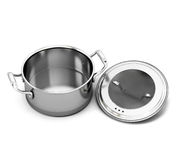 Stainless Steel Pan For Cooking With The Lid Open Royalty Free Stock
