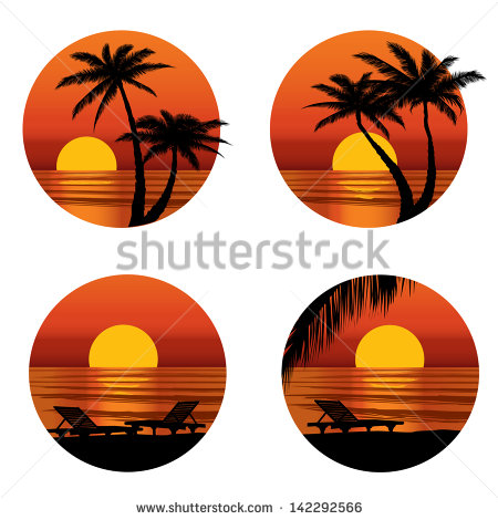 Sunset View At Resort  Relaxing In The Evening On Beach With Palm Tree