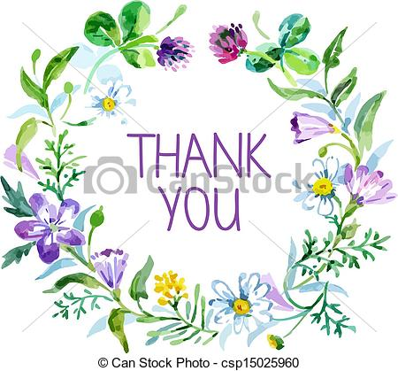Thank You Card With Watercolor Floral Bouquet  Vector Illustration