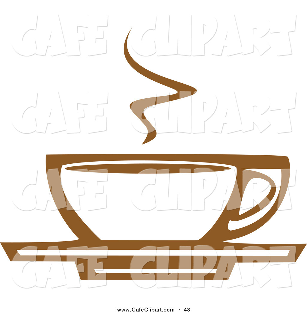 Vector Clip Art Of A Steaming White And Brown Coffee Cup On A Saucer