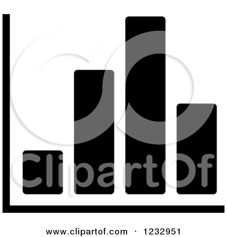 1232951 Clipart Of A Black And White Bar Graph Business Icon Royalty