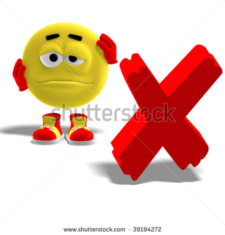 3d Rendering Of A Cool And Funny Emoticon Who Says Oh No To A X Mark