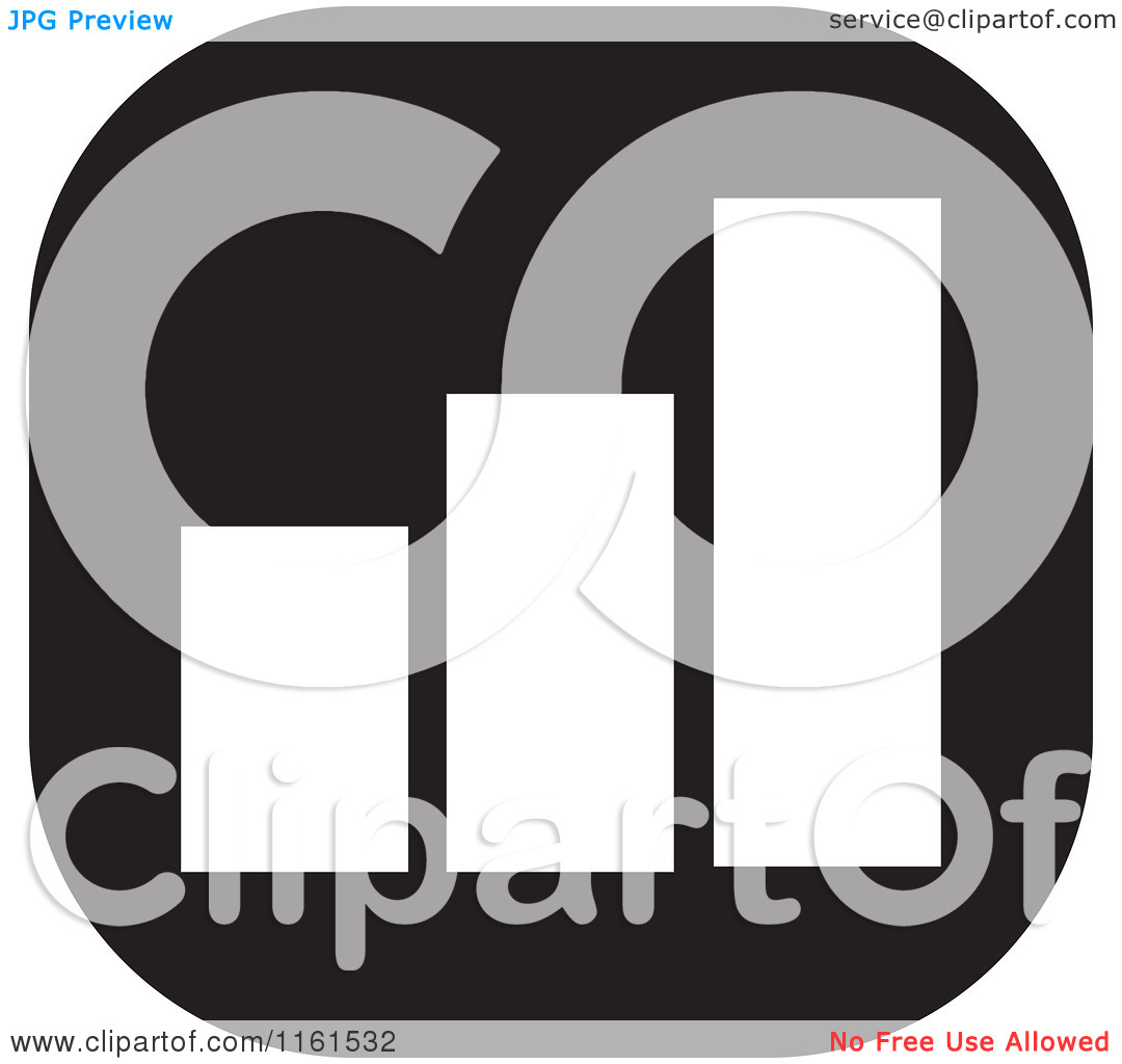 Clipart Of A Black And White Bar Graph Icon   Royalty Free Vector
