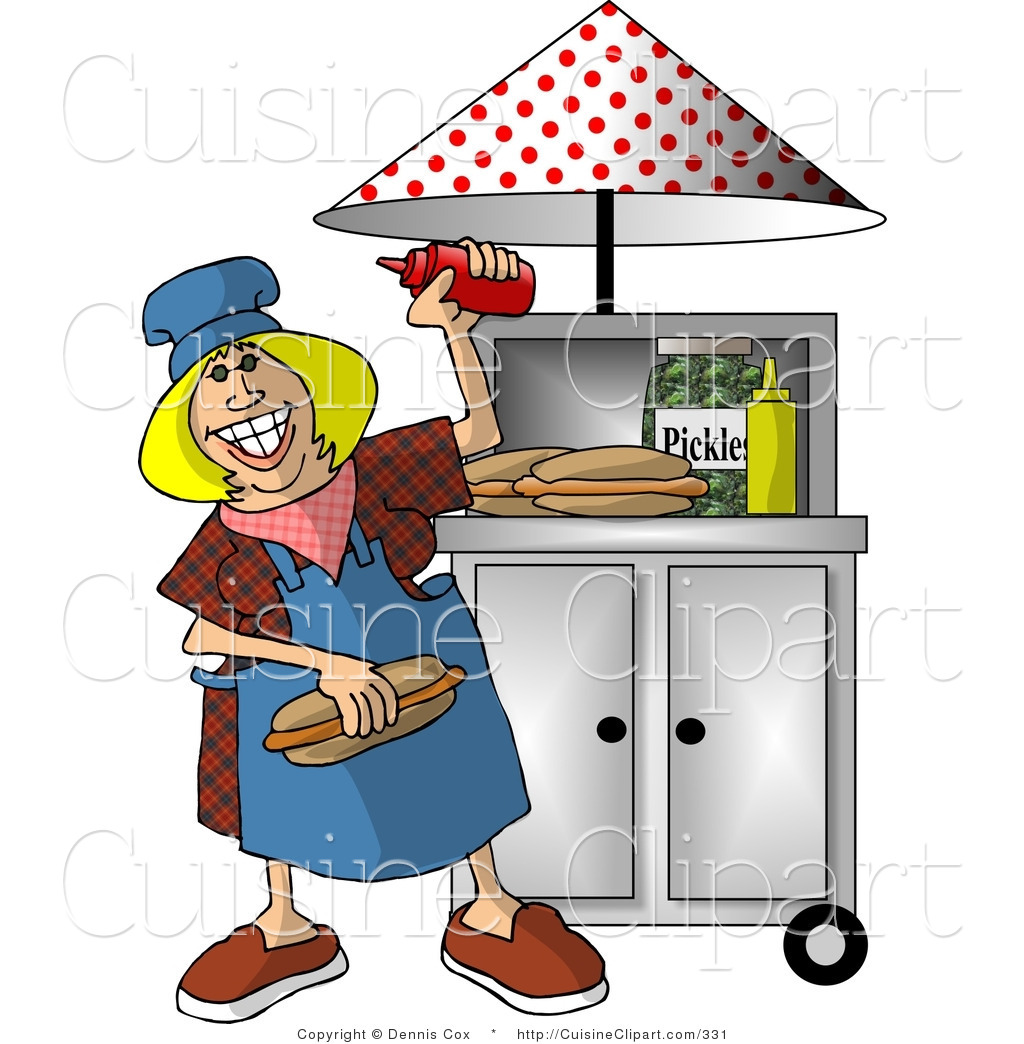 Clipart Of A Happy Lady Working At A Portable Roadside Fast Food