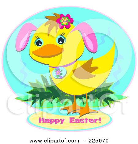 Duckling With Bunny Ears And Happy Easter Text Over A Blue Circle