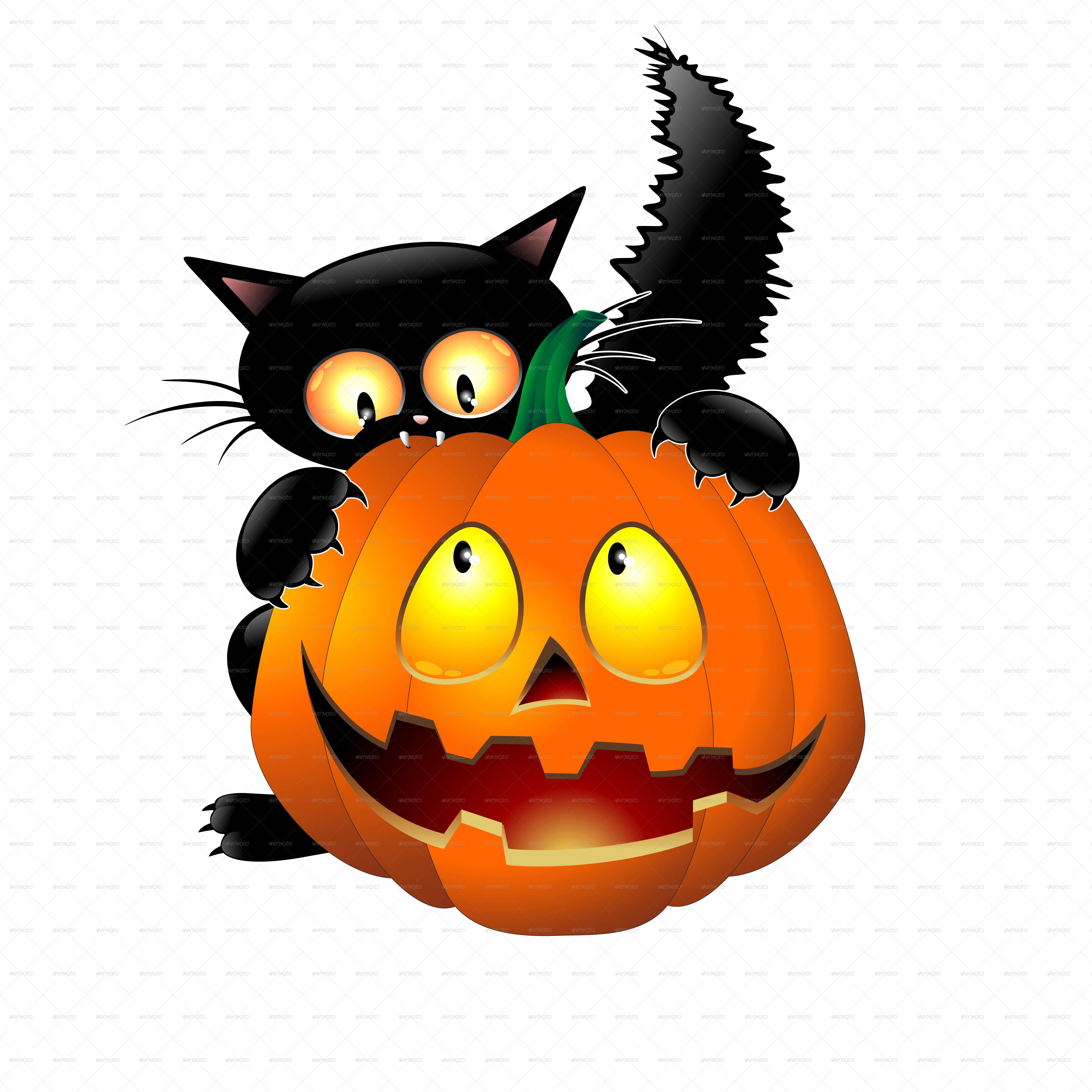 Halloween Cartoon Cat Mouse And Pumpkin   Graphicriver Previewer