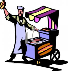 Hot Dog Vendor Cart   Royalty Free Clipart Picture