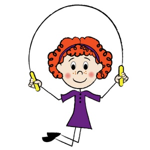Jump Rope Clipart Image   Red Haired Stick Figure Girl Jumping Rope
