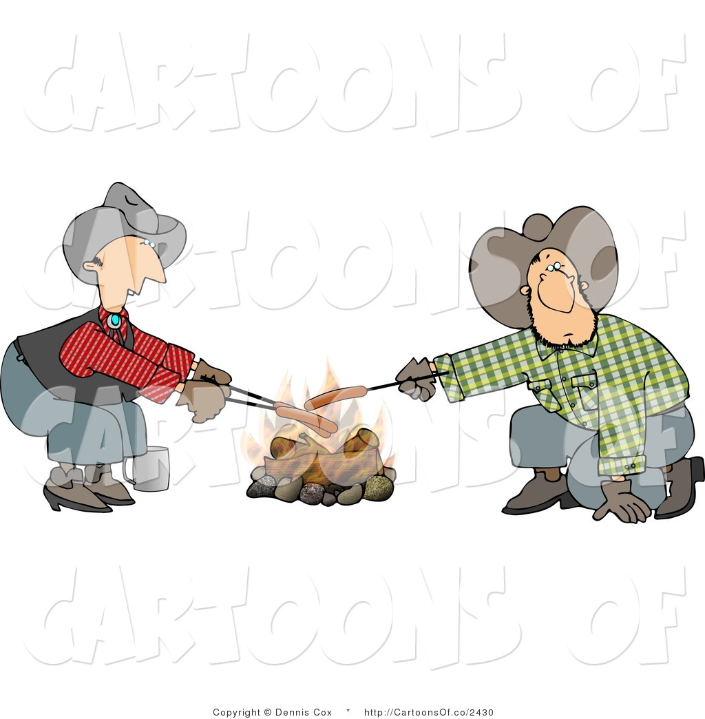 Larger Preview  Cartoon Illustration Of Caucasian Gay Cowboys Cooking