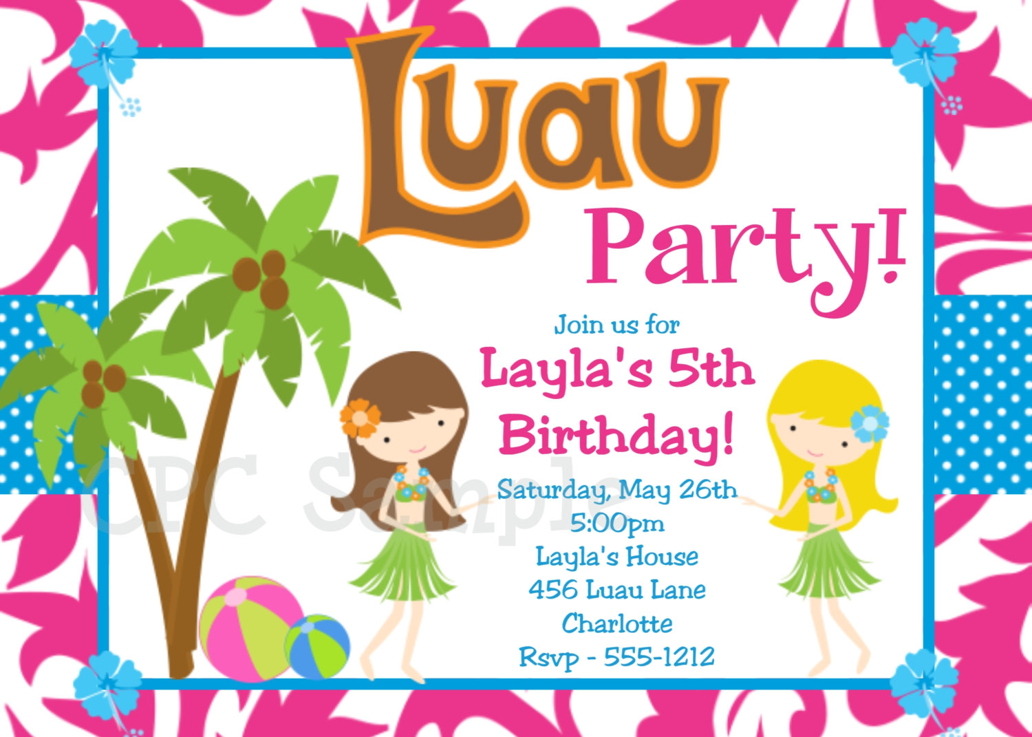 printable luau invitation clipart clipart kid luau birthday invitation hawaiian beach by cutiestiedyeboutique
