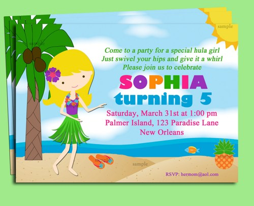 printable luau invitation clipart  clipart kid, Birthday invitations