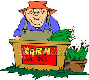 Man At A Stand Selling Corn   Royalty Free Clipart Picture