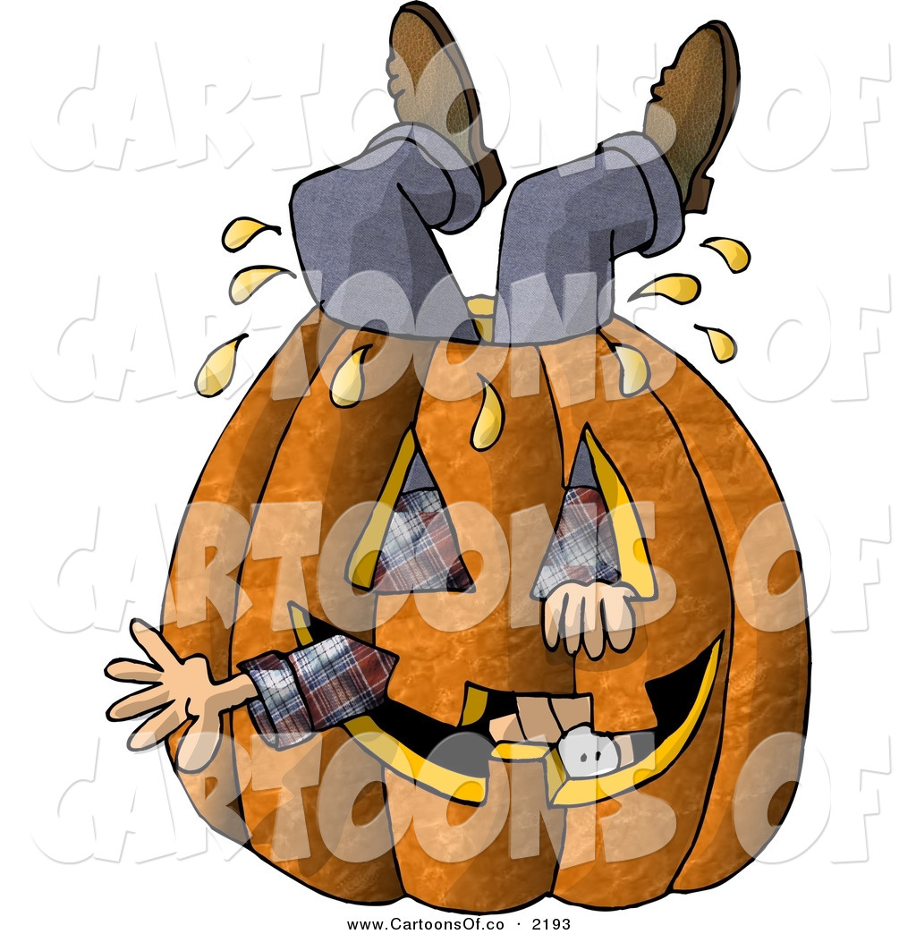 Man Stuck Inside A Big Halloween Pumpkin Jack O Lantern With A Carved