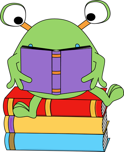 Reading A Book Clip Art   Two Eyed Monster Reading A Book Image