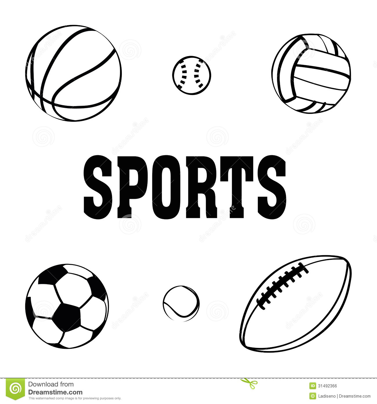 sports balls clip icons vector clipart background royalty ball drawings cliparts 1300 1390 soccer illustrations