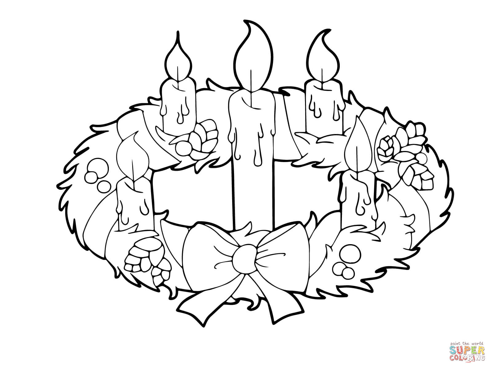 Supercoloring Com   Beautiful Advent Wreath And Candles To Color
