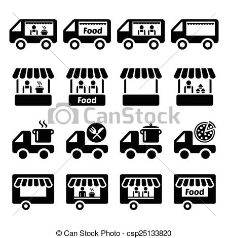 Vector   Food Truck Food Stand Icons   Stock Illustration Royalty