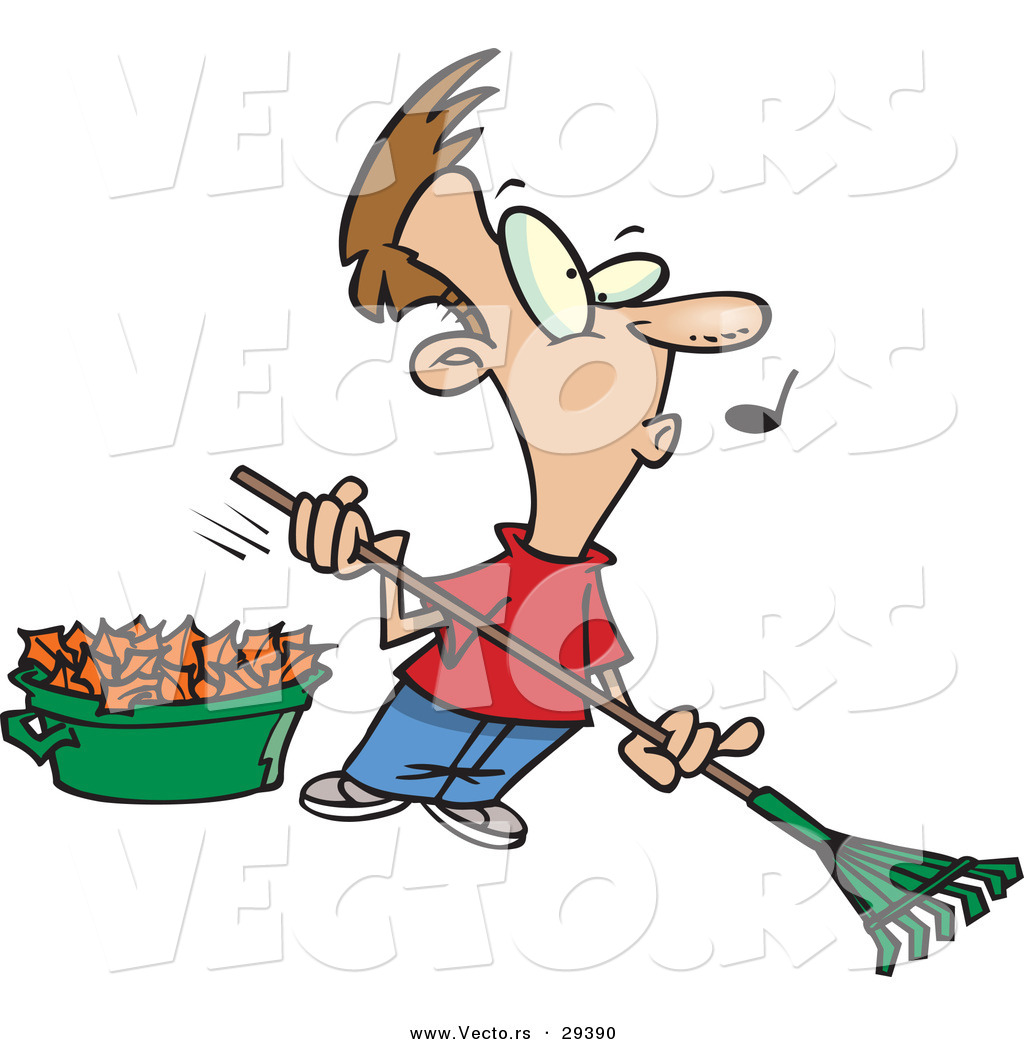 Vector Of A Whistling Cartoon Man Raking Autumn Leaves By Ron Leishman