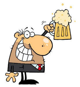 Beer Clipart Image   Clip Art Image Of A Happy Man Holding Up A Mug Of