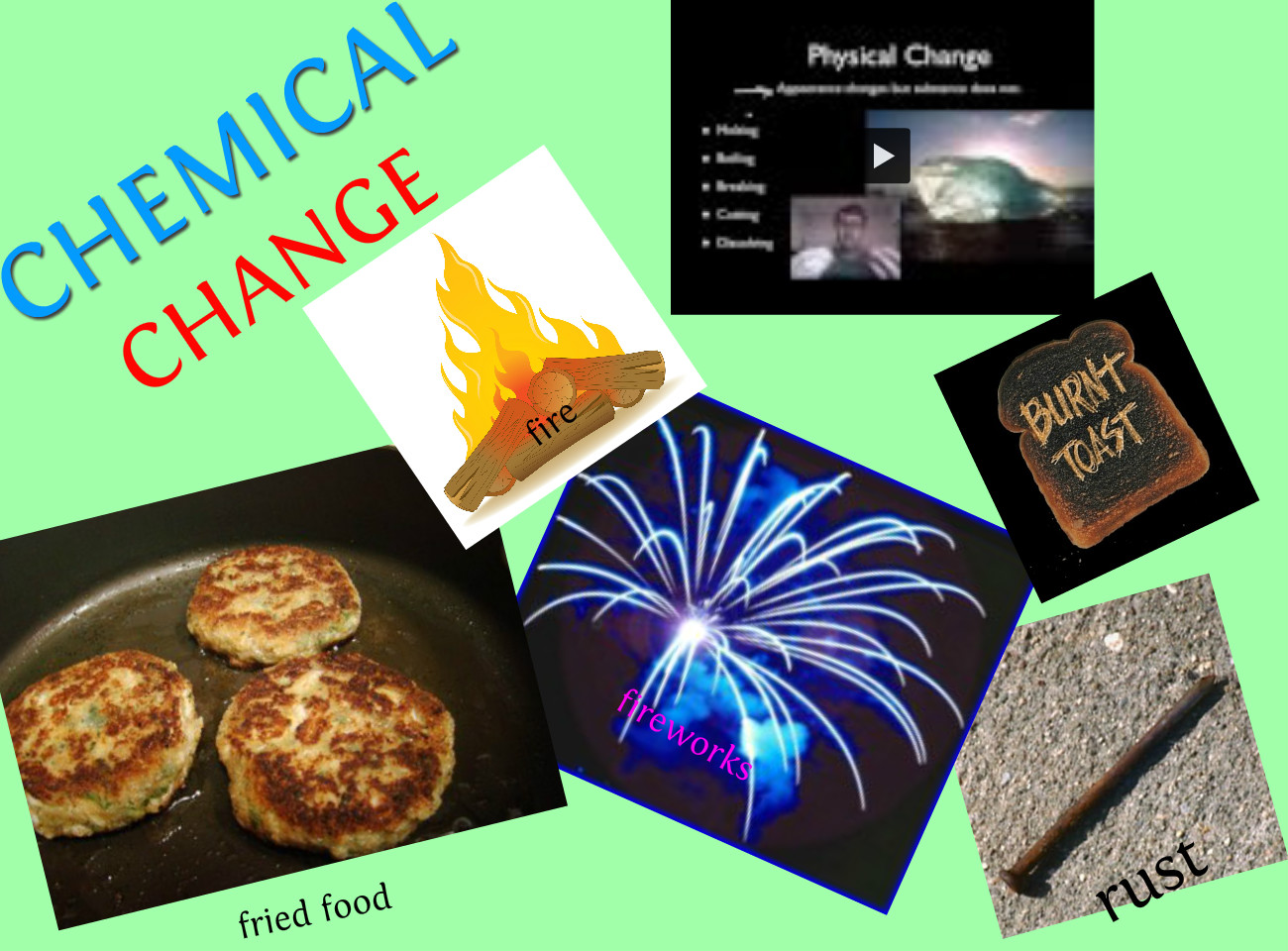 chemical change Click to read more about chemical reactions  here are some of the signs of a  chemical change when two or more chemicals combine.