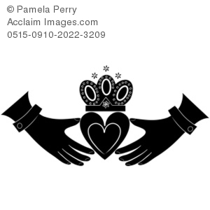 Clip Art Illustration Of A Black And White Claddagh Design   Acclaim