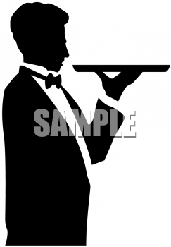 Clipart Picture Of A Waiter Holding A Serving Dish   Foodclipart Com