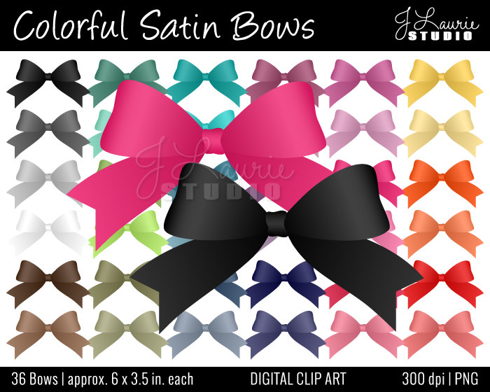Digital Clipart Colorful Satin Bows Clipart By Jlauriestudio