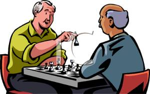 Gentlemen Playing A Game Of Chess   Royalty Free Clipart Picture