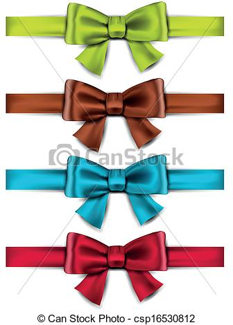 Gift Bows   Set Of Colorful Satin Bows    Csp16530812   Search Clipart
