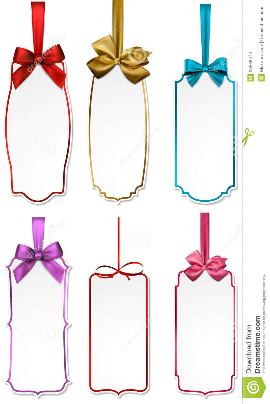 Gift Cards With Color Ribbons And Satin Bows  Vector Illustration