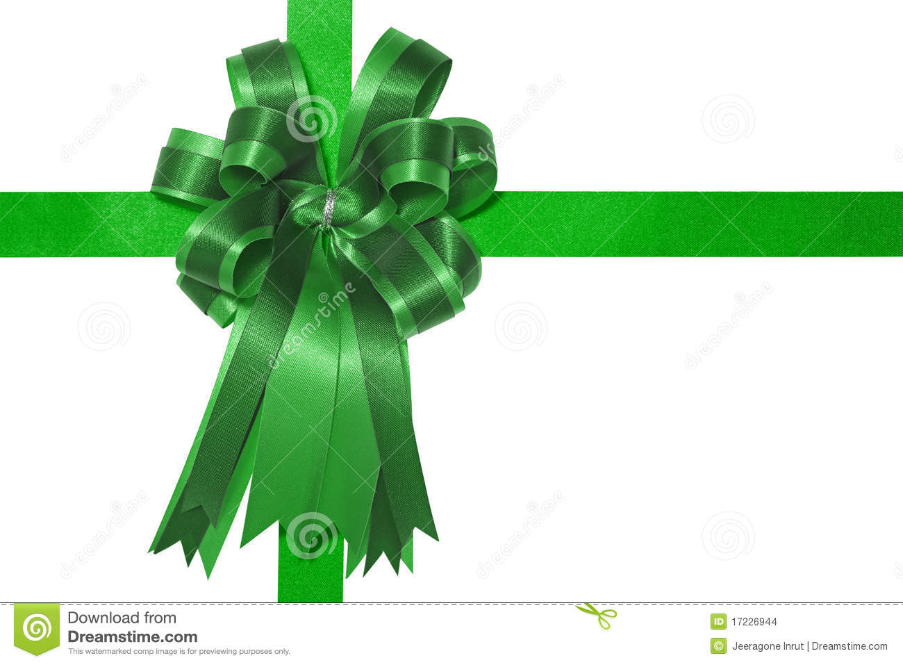 Green Gift Bow Clipart Green Satin Gift Bow On White