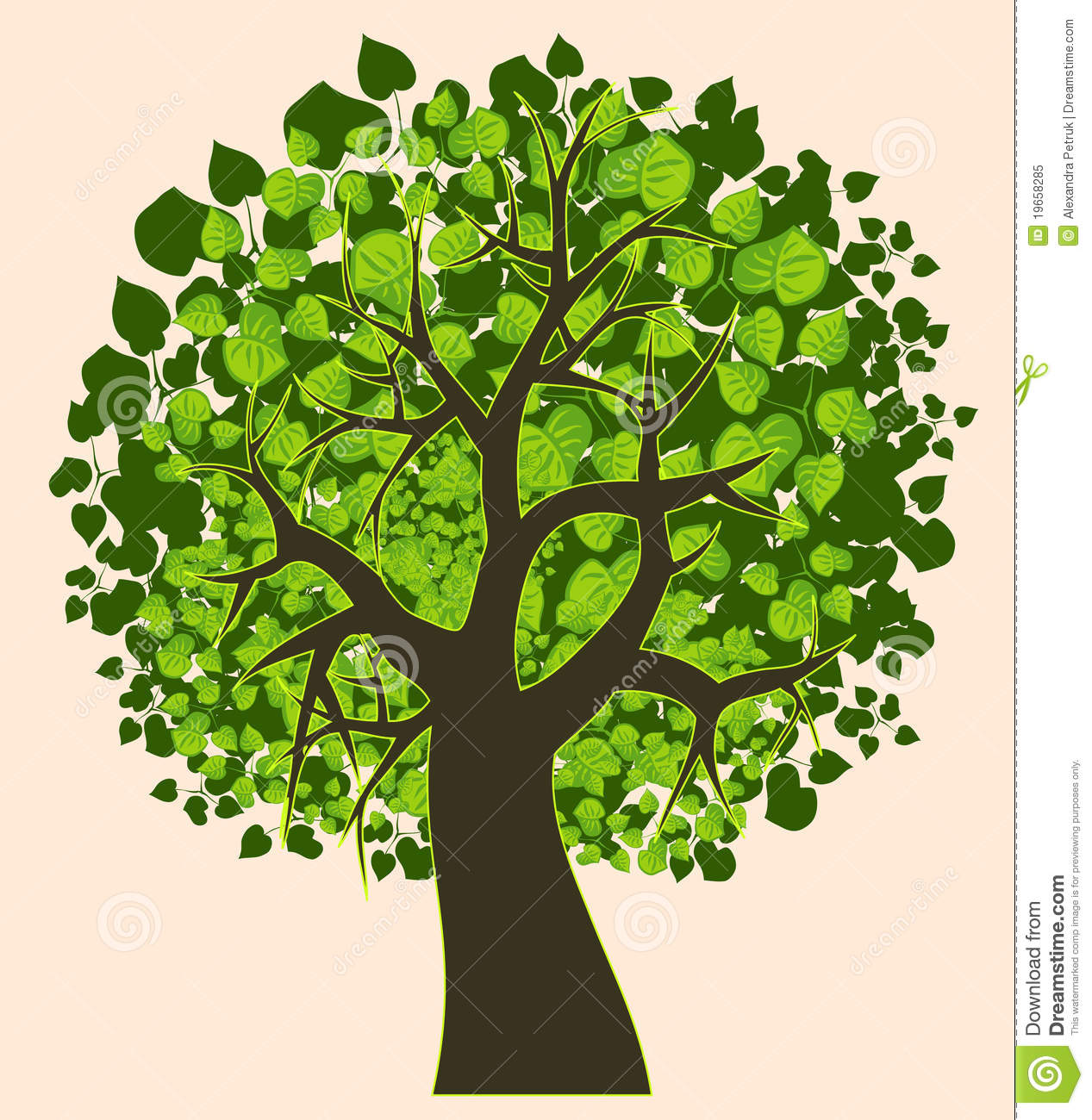 Illustration Of An Isolated Summer Tree Royalty Free Stock Photo