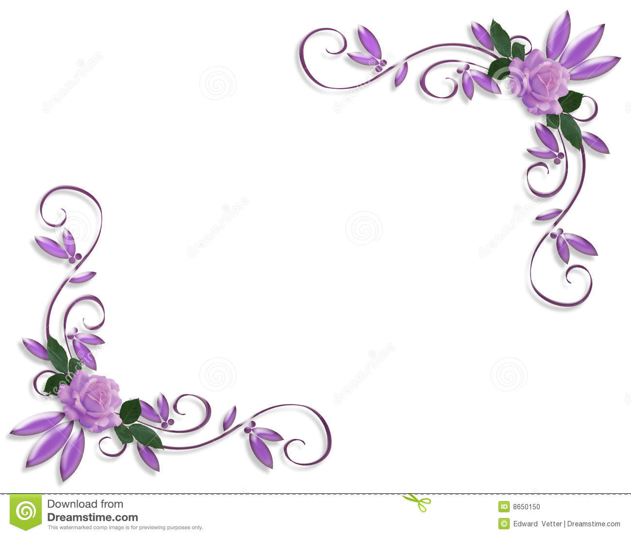Lavender Roses Image And Illustration Composition Design Template On