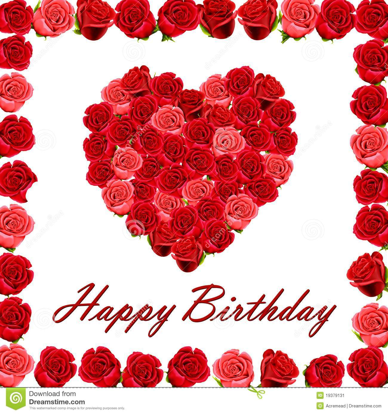 More Similar Stock Images Of   Happy Birthday With A Heart Of Roses
