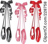 Of Pairs Of Black Pink And Red Satin Ballet Slippers Hanging With Bows