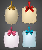 Paper Gift Cards With Color Satin Bows  Royalty Free Stock Photos