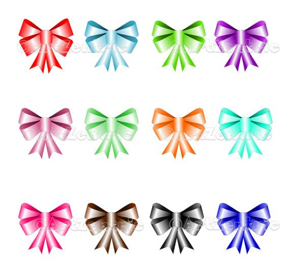 Satin Bows Clipart Pack   12 Coloured Bows For Personal Or Commercial