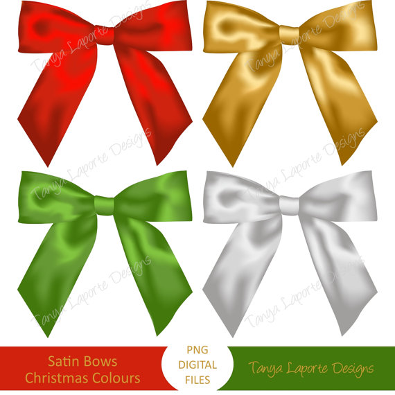 Satin Bows Digital Clipart Done In Traditional Christmas Colours  Red