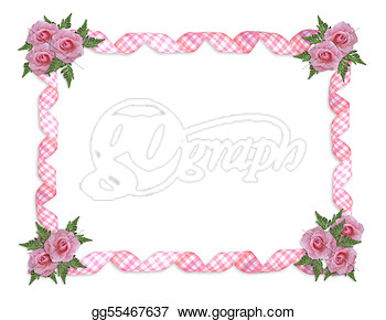 Stock Illustration   Pink Roses Gingham Ribbons Border  Clipart