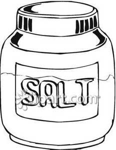 Black And White Jar Of Salt   Royalty Free Clipart Picture