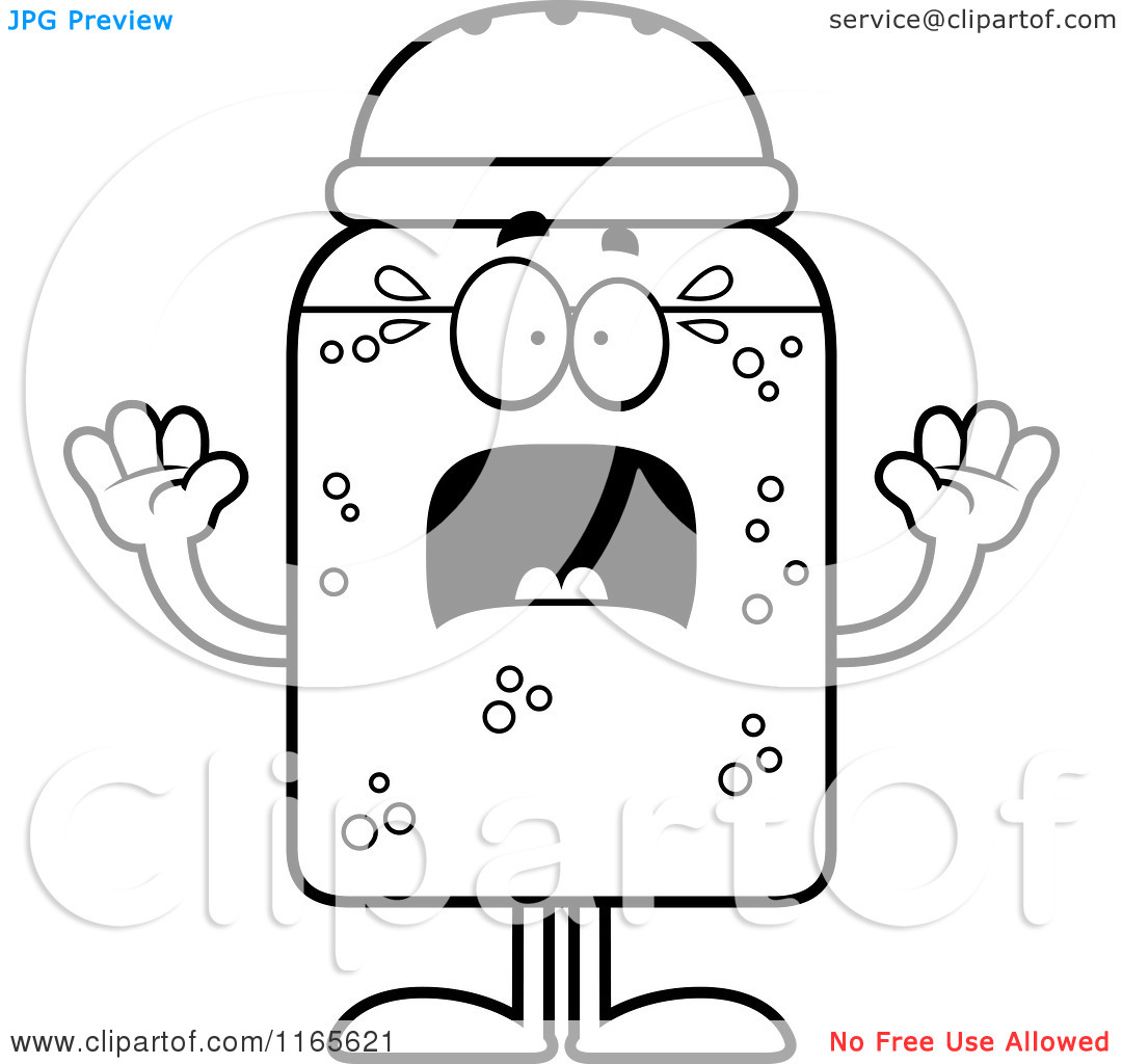 Cartoon Clipart Of A Scared Salt Shaker Mascot   Vector Outlined