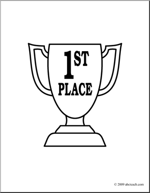 Clip Art  Trophy  First Place B W   Preview 1