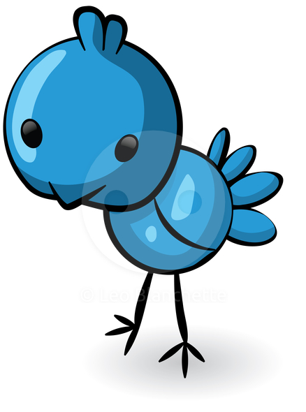 Clipart Illustration Of A Blue Bird For Twitter Or Your Design Stock
