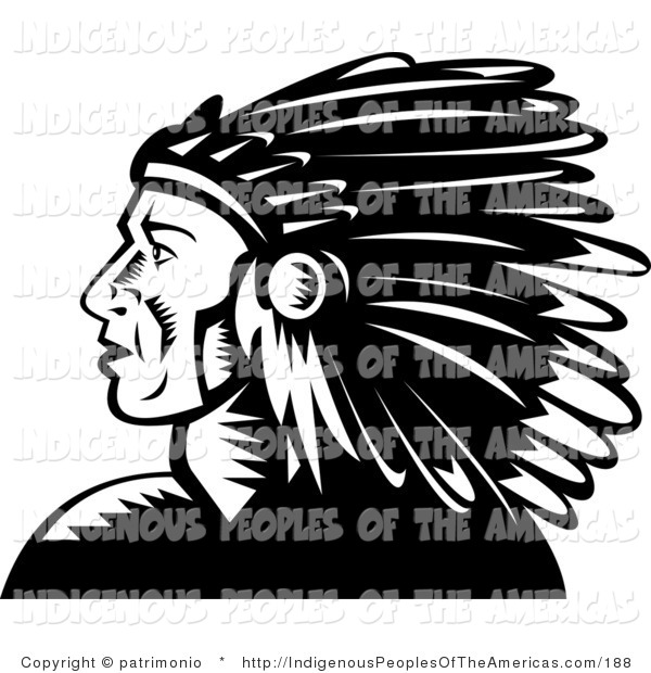 Clipart Of A Black And White Native American Indian Chief Profile By