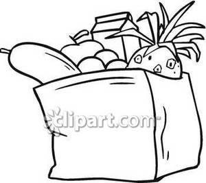 Doctor Bag Clipart Black And White Black And White Full Bag Groceries